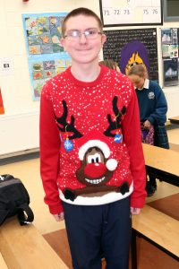 Pictured taking part in the annual Christmas Hat and Jumper Day at Ardscoil Na Mara, Tramore was Darragh Roche. | Photos: John Power