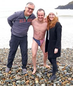 Pictured taking part in the Michael Power Memorial Christmas Day Swim which was held at Kilmurrin Cove were Liam Farrell, Brian Healy and Orla Péitseóg De Paor. | Photos: John Power