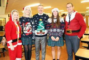 Pictured at the Christmas Hat and Jumper Day at Ardscoil Na Mara, Tramore were Jessie Flynn, Aine O'Sullivan, Padraig Cawley (Principal), Paula Halley and Anthony Leahy (Deputy Principal).