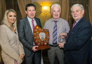 Noel O'Sullivan was the recipient of the Jack Furlong Award at The Local Bar Waterford GAA Awards. Pictured is Pat Flynn, Secretary Co. GAA Board presenting the award to Noel. Included are Paddy Joe Ryan, Chairman Co. GAA Board and Molly Gough, The Local Bar, Sponsors.  Photo: Sean Byrne.