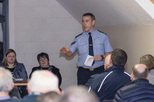 Sgt Alan Kissane speaking in Ballyduff Community Centre.