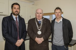 Minister for Housing Eoghan Murphy, Mayor of Waterford City & County Council Pat Nugent and Owen Cox (owner of 23 Barrack Street).