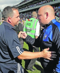 Derek McGrath and Davy Fitzgerald exchange pleasantries following the Deise's All-Ireland Quarter-Final win over Wexford in Cork last July. See Sport 2 and 3 for more ahead of the teams' NHL clash at Walsh Park on Sunday next.| Photo: Noel Browne