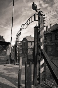 The main gate at Auschwitz, which the Island of Ireland Peace Choir visited last July, which will be screened on RTE's 'Nationwide' this Friday, January 26th