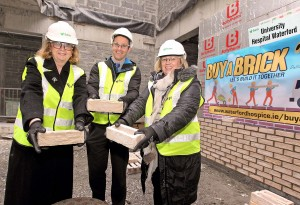 Waterford and Stradbally GAA's Michael 'Brick' Walsh, pictured at the 'Buy  A Brick - Let's Build It Together' for Waterford Hospice at the site of the new UHW Palliative Care Unit with Danette Connolly (Waterford Hospice Chairperson) and Marie Dennehy (Board member, Waterford Hospice).  		| Photo: Noel Browne