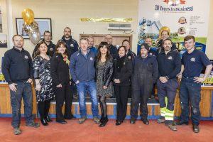 The delighted staff of Clem Jacob Hire pictured on Friday last following the company's win at the 2018 Executive Hire Show Passionate Hirer Awards. | Photo: Mick Wall