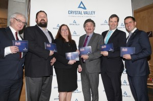 Pictured at Waterford Medieval Museum for the launch of Crystal Valley Tech were Ministers John Halligan and Michael D'Arcy, Niall O'Donnellan (Enterprise Ireland), Larry Breen and Elaine Fennelly (CVT) and Martin Shanahan (CEO, IDA).  Photo: John Power