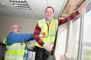Thomas Barry and James O'Sullivan working hard at the new Waterford Estuary Men's Shed at Passage East.