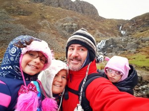 Emily and her family pictured during a visit to the Mahon Falls.