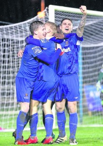 Dean O'Halloran is mobbed after netting Waterford FC's match winner in their Premier Division opener against Derry City at the RSC. | Photo: Noel Browne