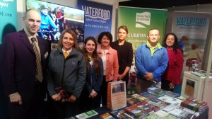 At the Waterford Stand at the Holiday World Show in the RDS were Shay Bollard (Sales Manager, Fitzwilton Hotel, Waterford), Lauren Traynor (Waterford City & County Council), Carrie Foley, Maria Kyte (Kilmeaden Suir Valley Railway), Orna Holohan, John Purcell (Greenway Cycles) and Mella Fahey (Lismore Heritage Centre).