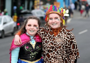 Grace White and Mia Swift from Theatre Box at the St Patrick's Day Parade on Saturday last.   | Photos: Noel Browne