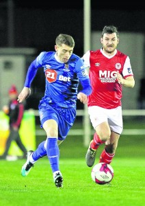 Waterford FC's Derek Daly on the attack.