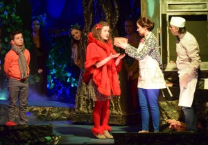 A scene from Into the Woods featuring Cormac Hennessy (Narrator), Marie Kelly (Red Riding Hood), Sandra Power (The Baker's Wife), Ray Nolan (The Baker) and friends. See more photos on E2. 						| Photos: Joe Cashin