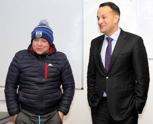 Taoiseach Leo Varadkar, who met with Waterford senior hurling manager Derek McGrath during a tour of the WIT Arena following the 'Project Ireland 2040' roadshow.  | Photo: Noel Browne
