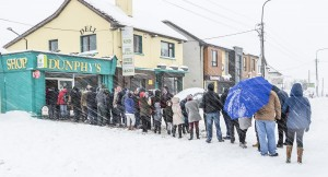 Queues at Dunphy's Shop on the Cork Road as Storm Emma raged on: Photo by Mick Wall