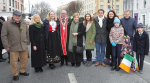 The Mayor of Waterford City & County Council Cllr.Pat Nugent and his wife Eileen pictured with the Waterford St.Patrick's Day Parade Grand Marshall, Her Excellency Elsie Berit Eikeland, Ambassador of Norway to Ireland, also included are some of the Mayor's family, Noel Nugent, Mary O'Keeffe, Shane Nugent, Jennifer O'Keeffe-Smith, Chiara O'Keeffe-Smith, Gary, Victoria and Christina Smith.| Photo: Noel Browne