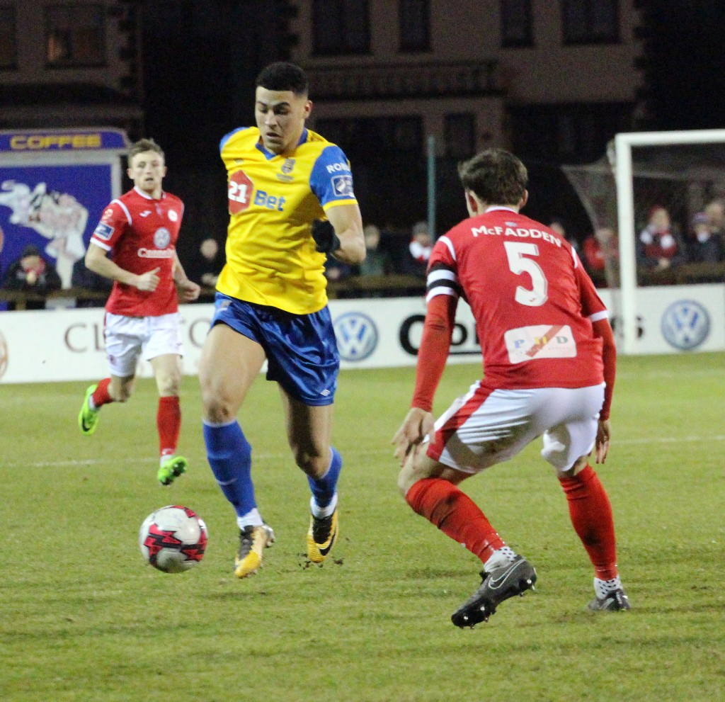 Blues striker Courtney Duffus heads for goal against Sligo Rovers