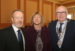 Sean Kelly pictured with City & County Mayor Pat Nugent and Senator Grace O'Sullivan.