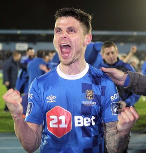 Waterford FC's Gavan Holohan celebrating a great win over champions Cork City: Photo by Noel Browne