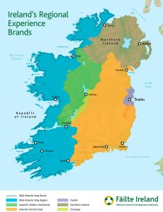 A map displaying the areas incorporated by Fáilte Ireland's Regional Experience Brands.