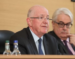 Justice Minister Charlie Flanagan, speaking at the official re-opening of Waterford Courthouse on Monday week last. Also pictured is Chief Justice Frank Clarke. | Photo: Noel Browne