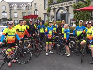 Participants in last year's Four Munster Airports Challenge pictured outside the Bunratty Castle Hotel.