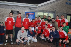 The victorious Red Star team celebrating their Philip O'Keeffe Cup victory in Ozier Park on Friday last.