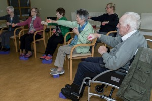 Participating in exercises during a gathering of the Parkinson's Association Waterford Branch at Waterford Cheshire.