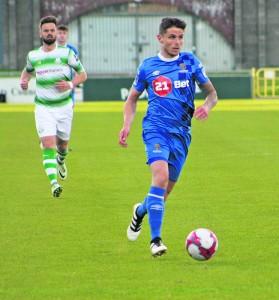 Goal scorer Gavan Holohan in action for the Blues against Shamrock Rovers