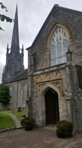 The South Door and spire of St Carthage's Cathedral in Lismore.