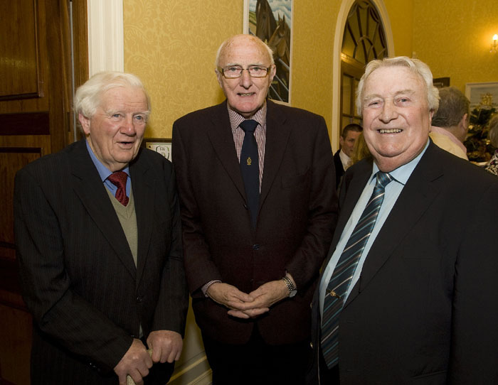 Old friends: pictured at the Tramore Racecourse Centenary celebrations in City Hall in 2012 were the late Jim Harney, the late Eddie Wymberry and the late Joe O'Shea. Mr Harney's Obsequies were celebrated on Saturday last.