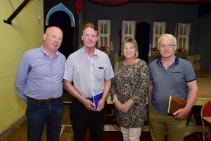 Donal Hickson, Centra, Cllr. John O'Leary, Mary Butler TD, Declan Finn, committee, pictured at last week's meeting in Ballyduff Community Centre. Photos: Joe Cashin