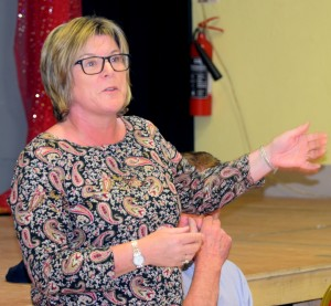 Mary Butler TD, speaking at the meeting to discuss the future of Kilmeaden Post Office.