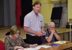 Cllr. John O'Leary speaking at the meeting, with Mary Butler TD and Declan Finn.