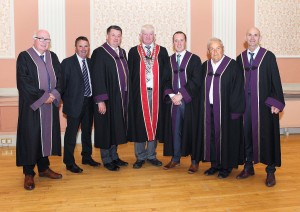 The newly elected Mayor of Waterford City & County Council, Cllr.Declan Doocey (FG) pictured with his fellow Fine Gael councillors. From left: Outgoing Mayor, Cllr.Pat Nugent, Cllr.Liam Brazil, Cllr. Damien Geoghegan, Cllr.John Cummins, Cllr.John Carey and Cllr.Seanie Power.