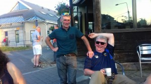 Johnny Whelan and Ger Slattery relaxing after the cycle.
