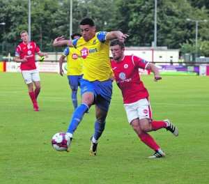 Blues striker Courtney Duffus on the attack against Sligo. Waterford FC last week announced that the striker, who is on loan from Oldham Athletic, would stay with the Blues for the rest of the season.