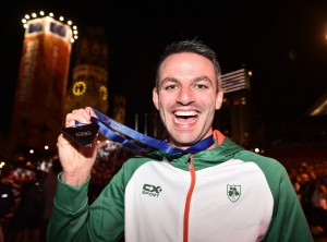 Ferrybank AC's Thomas Barr pictured with his bronze medal after finishing third in the Men's 400m Hurdles Final at the European Athletics Championships in Berlin. See News 18 and Sport 1, 10 and 11 for more! 							| Photo: Sam Barnes/Sportsfile