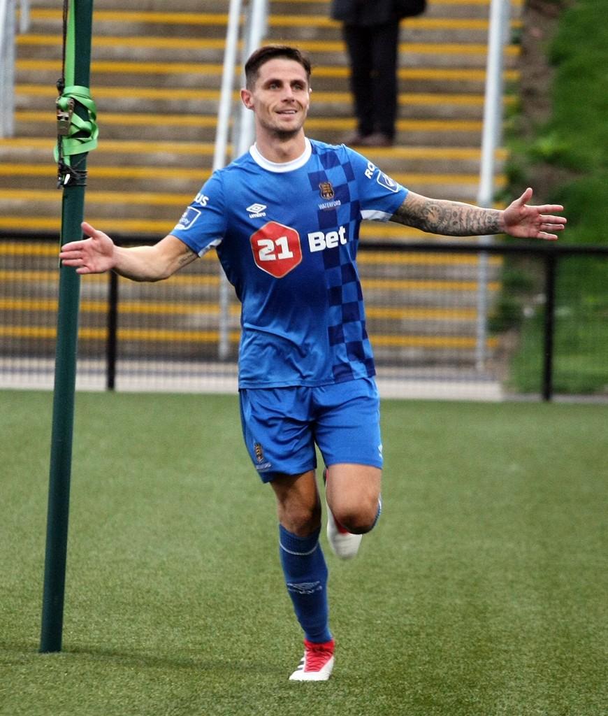 Gavan Holohan celebrates his goal against Derry