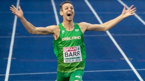 The moment Thomas Barr realizes he's won a bronze medal at last week's European Championships in Berlin.
