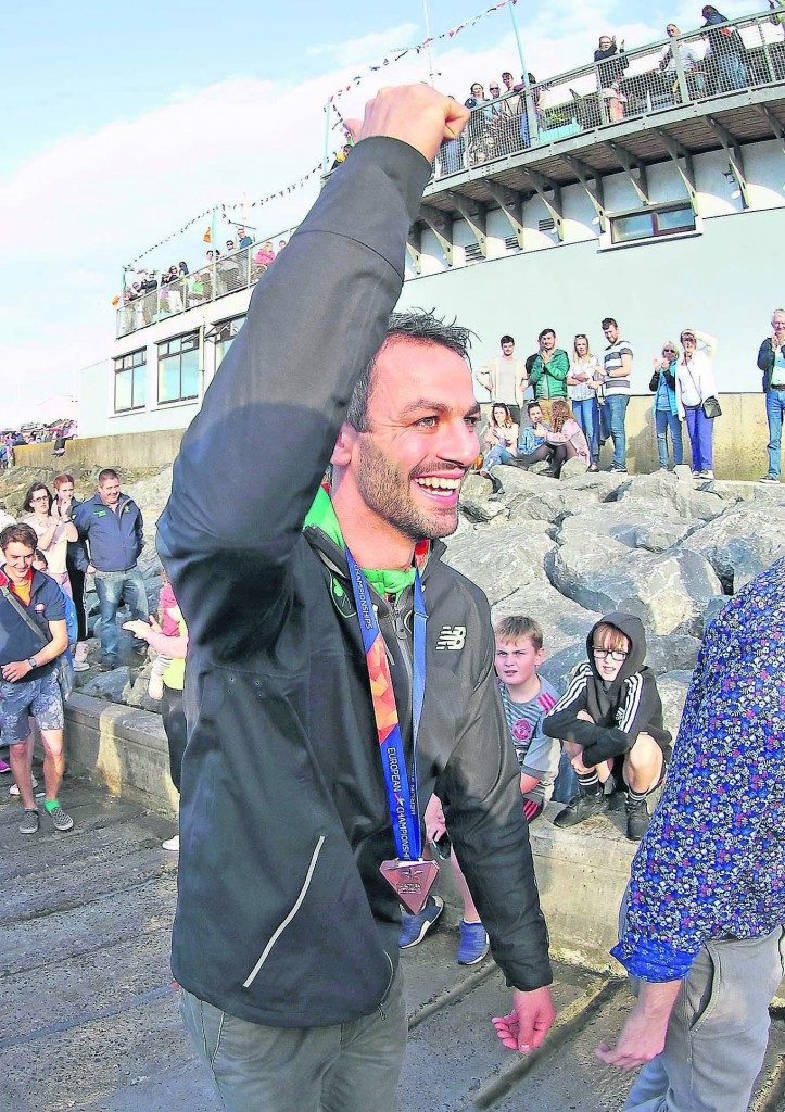 Thomas Barr pictured on arrival into Dunmore Harbour to celebrate his European Championship Bronze Medal success, where a 2,000-strong crowd greeted their hero home. Noel Browne