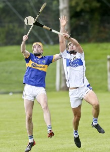 Martin F O'Neill and Donie Breathnach in an aerial tussle on Sunday last.