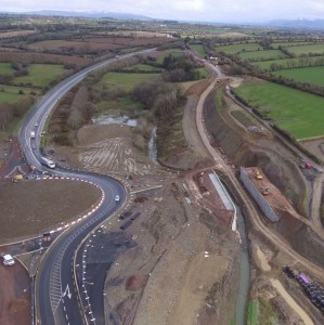 Works are ongoing at the Glenmore Roundabout, as the Ballyverneen Road Overbridge continues. | Photos: www.n25newross.ie