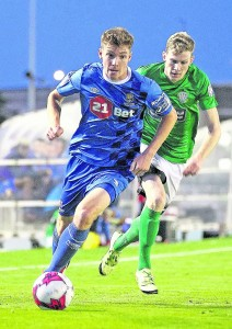 Waterford FC's Rory Feely attacking the Bray Wanderers defence.