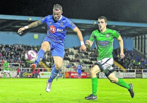 Waterford FC's Noel Hunt shows a lovely bit of skill trapping this ball in mid air under pressure from Bray Wanderers Cian Walsh.