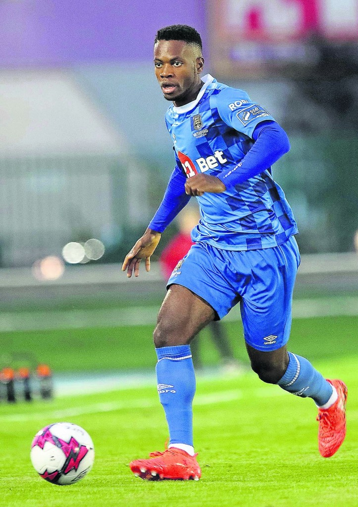 Waterford FC's Noa Baba passing forward in the second half.