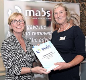 Anna Galvin (MABS Board of Management) presenting Social Protection Minister Regina Doherty with a copy of Waterford MABS' Personal Insolvency Practitioner Research Report on Monday last, September 17th.   Photo: Noel Browne