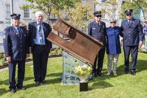 Pictured followed the unveiling of the 9/11 Memorial at the Bishop's Palace garden on Friday last were, from left: Tommy O'Rourke (FDNY), City & County Mayor Declan Doocey, retired Fire Chief Ralph Ingenierie, his wife Rosemary and Michael O'Rourke (FDNY).  										| Photos: Mick Wall