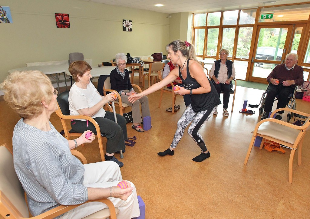 Branch members pictured during Yoga class at Waterford Cheshire under the guidance of Saffron Giles-Murray, Saffron Yoga.
